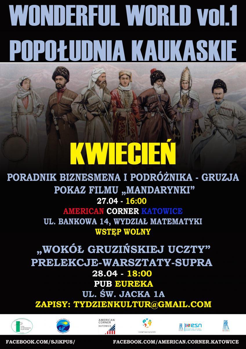 """Plakat promujący kwietniowe """"Popołudnia Kaukaskie"""""""