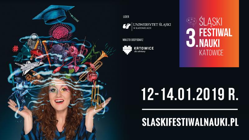 Grafika promująca Śląski Festiwal Nauki Katowice