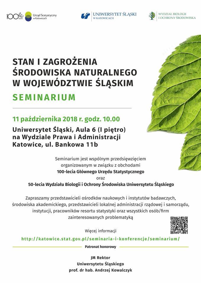 Plakat wydarzenia: na białym tle logotypy oraz informacje nt. seminarium. Z prawej strony fragmenty dwóch zielonych liści.