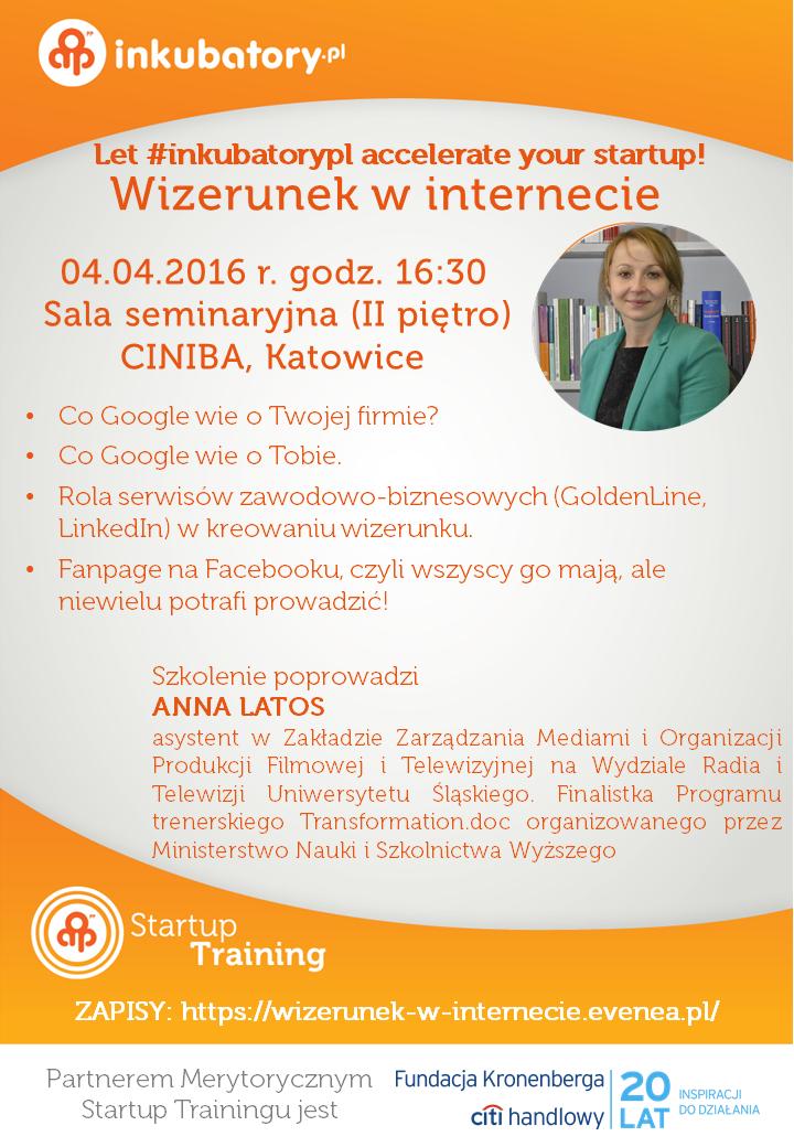 """plakat promujący szkolenie pt. """"wizerunek w Internecie"""""""