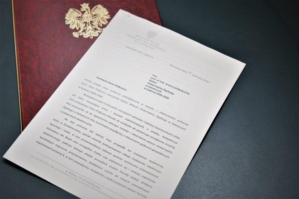list Ministra Nauki i Szkolnictwa Wyższego