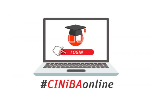 Grafika: laptop z napisem #CINiBAonline