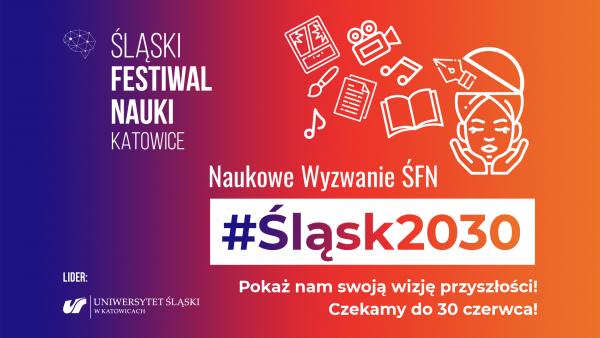 Grafika promująca akcję Śląskiego Festiwalu Nauki KATOWICE #NaukoweWyzwanieŚFN