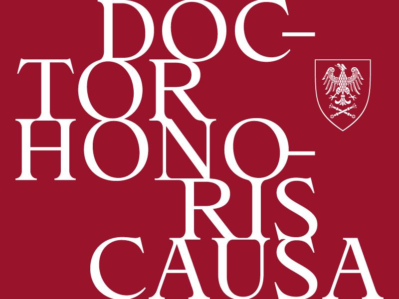 Grafika promująca uroczystość przynania doktoratu honorowego