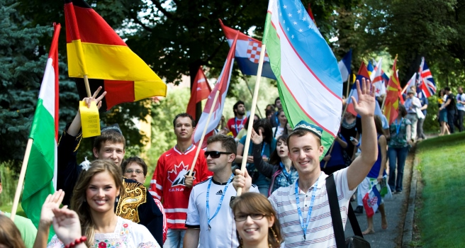 foreign students with flags