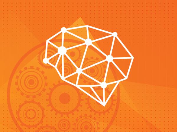 wzór geometryczny mózgu na pomarańczowym tle