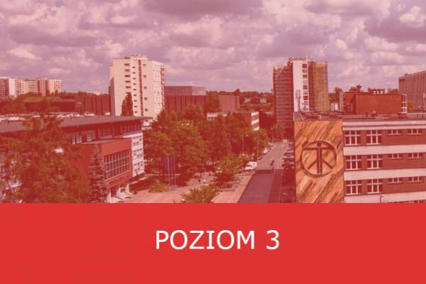 kampus Uniwersytetu Śląskiego w Katowicach, napis na czerwonym tle: poziom 3