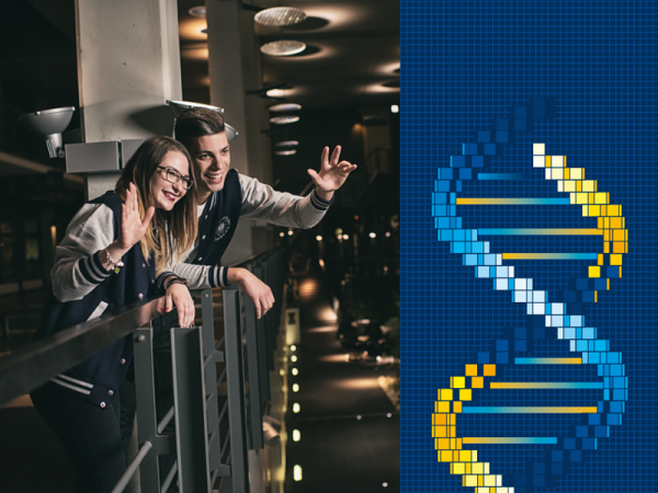 Dwoje młodych ludzi uśmiecha się i macha. Po prawej stronie grafika przedstawiająca helisę DNA/Two young people are smiling and waving. On the right there is an artwork showing the DNA helix