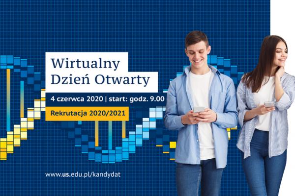 Grafika promująca Wirtualny Dzień Otwarty UŚ 4 czerwca 2020 roku