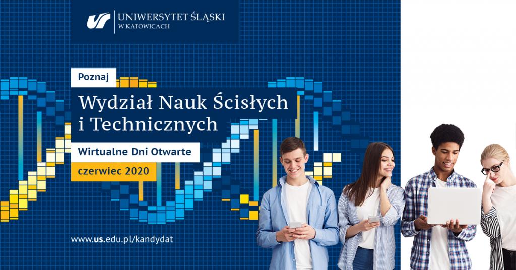 Plakat promujący wirtualny dzień otwarty na Wydziale Nauk Ścisłych i Technicznych