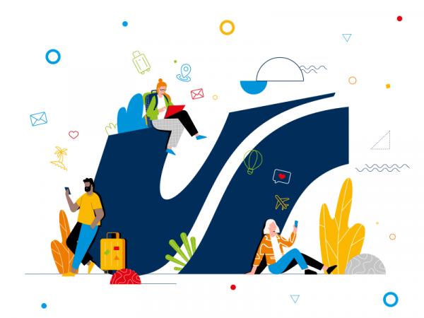 grafika: studenci Uniwersytetu Śląskiego siedzą przy logotypie Uniwersytecie Śląskiego i sprawdzają aplikację Connect UŚ