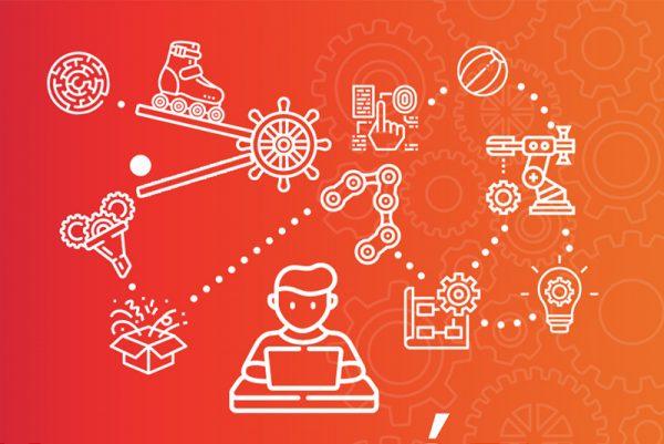 Grafika promująca akcję zbudowania domowej maszyny Goldberga