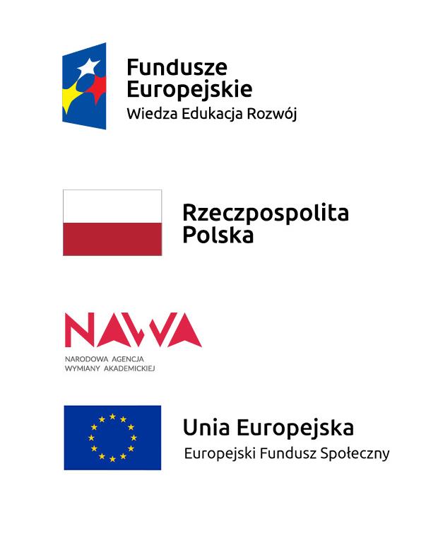 Cztery logotypy: logo Fundusze Europejskie Wiedza Edukacja Rozwój, flaga Rzeczpospolitej Polskiej, logo Narodowej Agencji Wymiany Akademickiej NAWA oraz logo Unii Europejskiej z dopiskiem Europejski Fundusz Społeczny