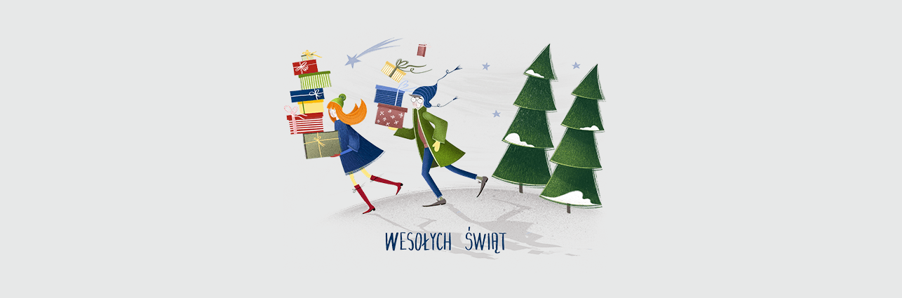 Grafika: dwójka osób z prezentami, za nimi choinki. Napis: Wesołych Świąt