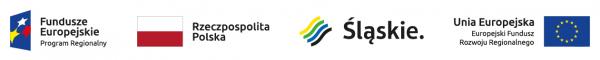 Logotypy: Fundusze Europejskie, Rzeczpospolita Polska, województwo śląskie, Unia Europejska