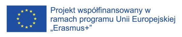 """Godło Unii Europejskiej, projekt współfinansowany w ramach programu UE """"Erasmus"""""""