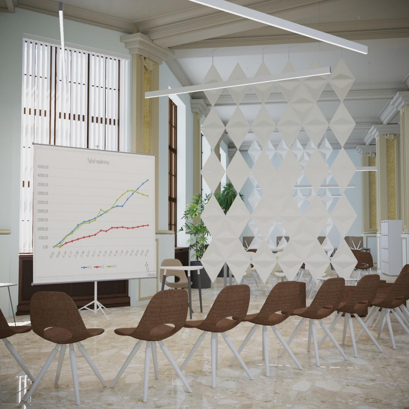 Sala konferencyjna z krzesłami, w tle tablica z wykresem