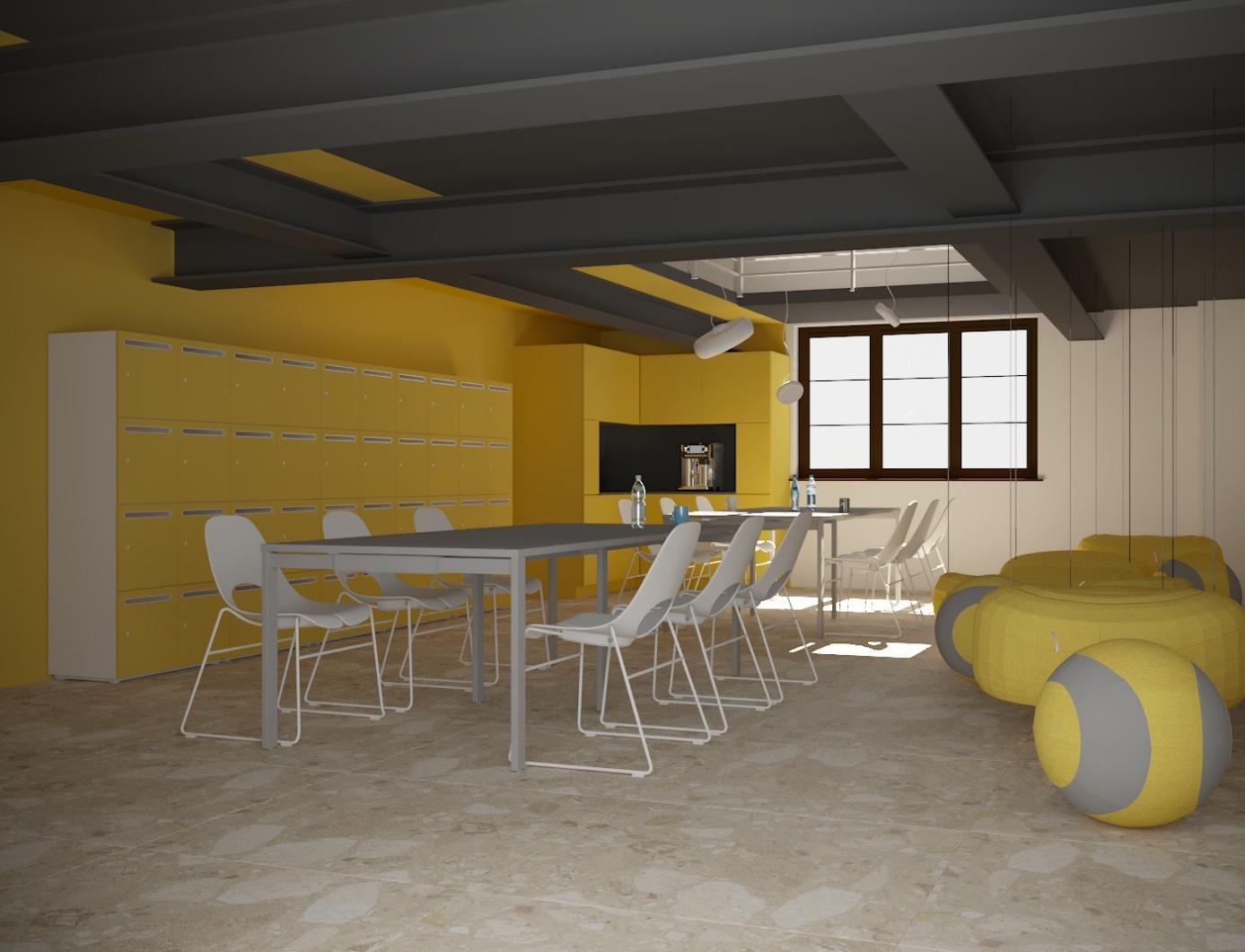Pomieszczenie przeznaczone do pracy, wyposażone w stoły, krzesła i sofy