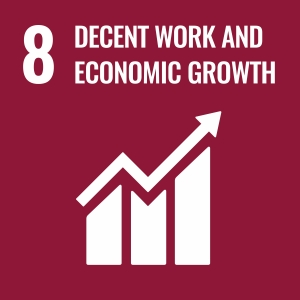 UN Goal 8 icon: the words growth and decent work on a burgundy background