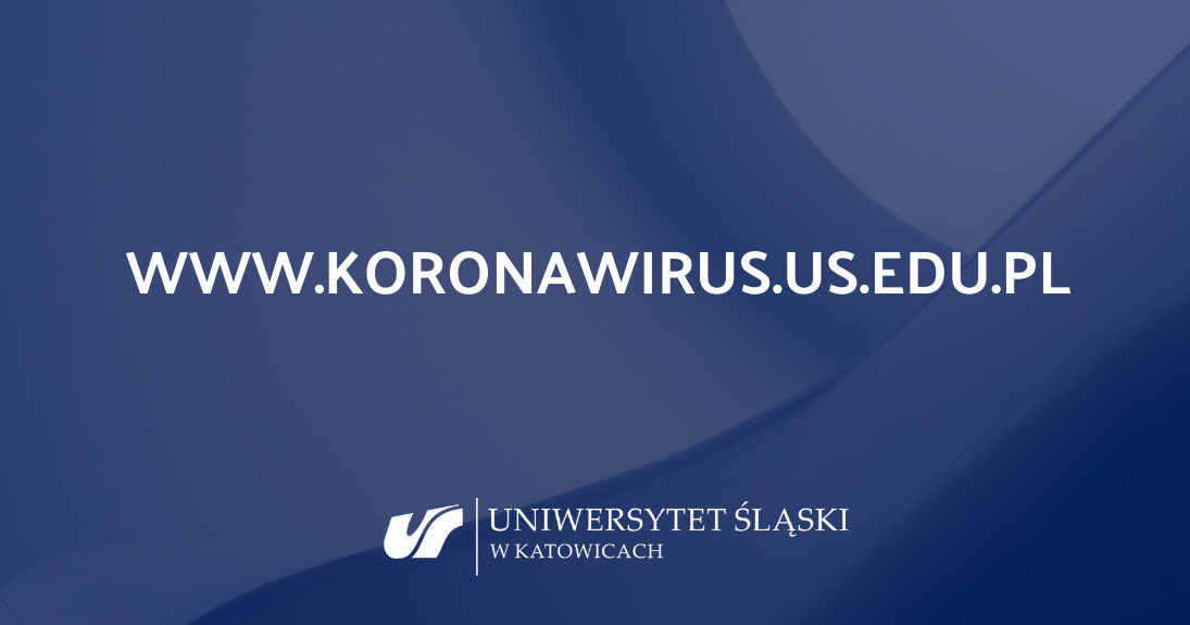 Tło z napisem www.koronawirus.us.edu.pl