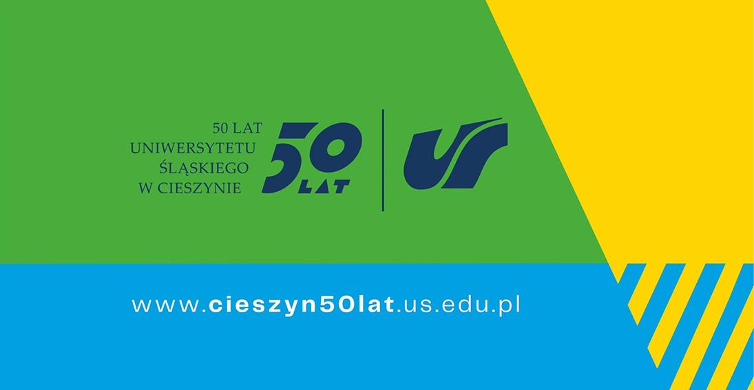 Grafika: logo 50 lat Uniwersytetu Śląskiego w Cieszynie oraz adres strony internetowej www.cieszyn50lat.us.edu.pl