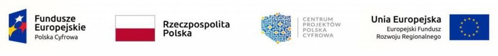 Logo: Fundusze Europejskie Polska Cyfrowa, Rzeczpospolita Polska, Centrum Projektów Polska Cyfrowa, UE Europejski Fundusz Rozwoju Regionalnego