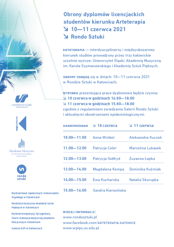 zaproszenie na obrony dyplomów licencjackich studentów Arteterapii w dniach 10-11.06.2021 w Rondzie Sztuki