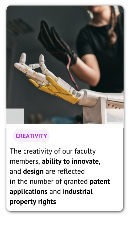 A photo presenting an artificial hand and an information: creativity of our faculty members, ability to innovate, and design are reflected in the number of granted patent applications and industrial property rights