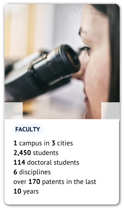 A card with a photo of young scientist and some information: 1 campus in 3 cities 2,450 students 114 doctoral students 6 disciplines 12 degree programmes over 170 patents in the last 10 years