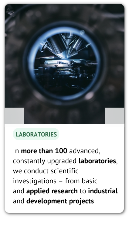 The photo of the laboratory and an information: In more than 100 advanced, constantly upgraded laboratories, we conduct scientific investigations – from basic and applied research to industrial and development projects