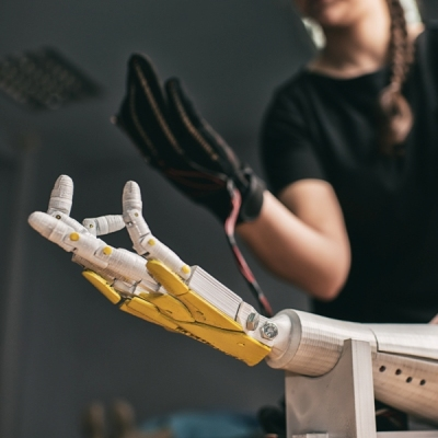 A hand and an artificial hand