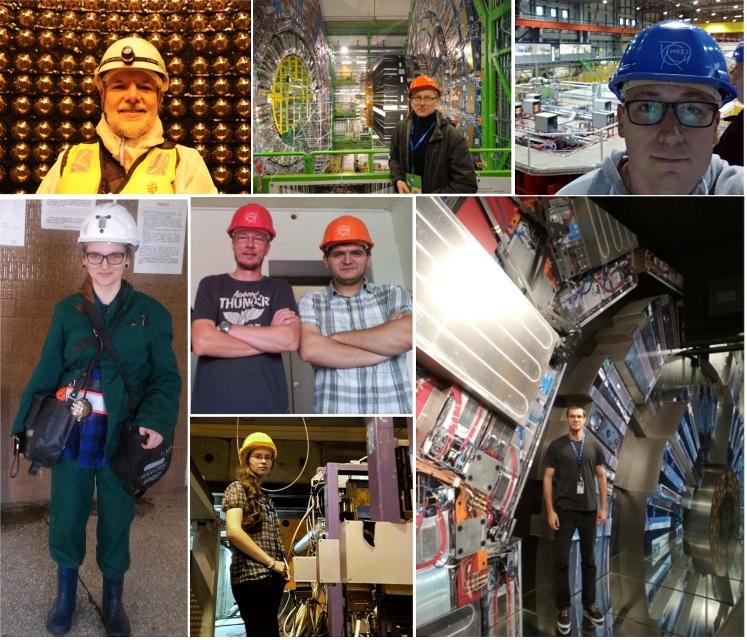 Kolaż zdjęć naukowców z UŚ w CERN-ie